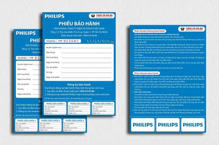 Mẫu phiếu bảo hành đơn vị Philips