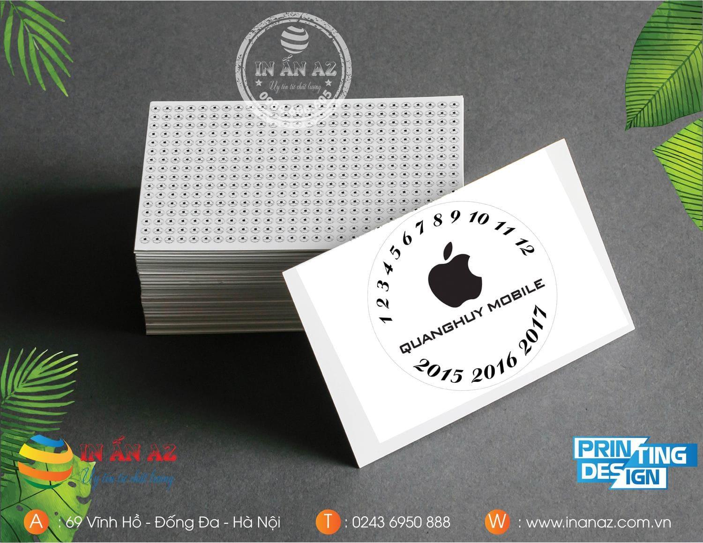 Mẫu tem bảo hành của Quang Huy Mobile