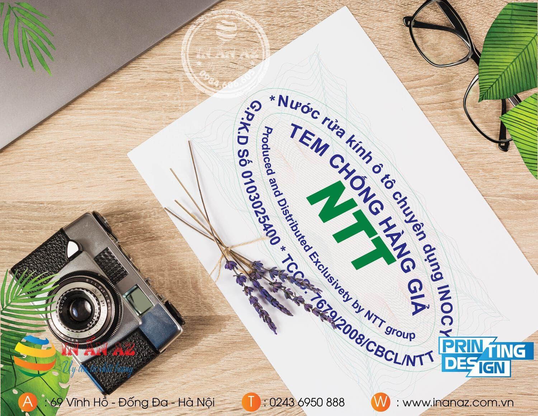 Mẫu tem chống hàng giả của NTT Group