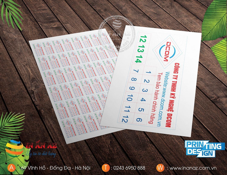 Mẫu tem bảo hành của Cty TNHH Kỹ nghệ Dcom
