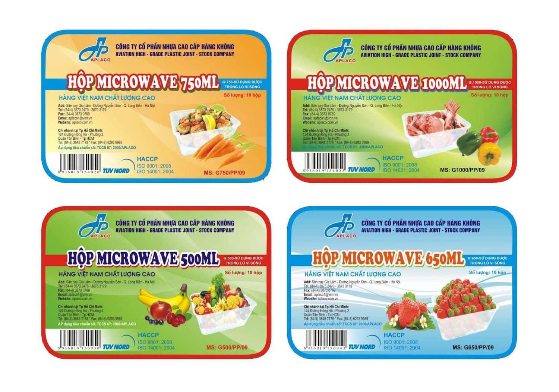 mẫu tem nhãn sản phẩm Hộp Microwave