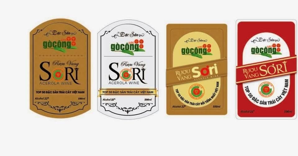 mẫu tem nhãn sản phẩm rượu vang Sơri