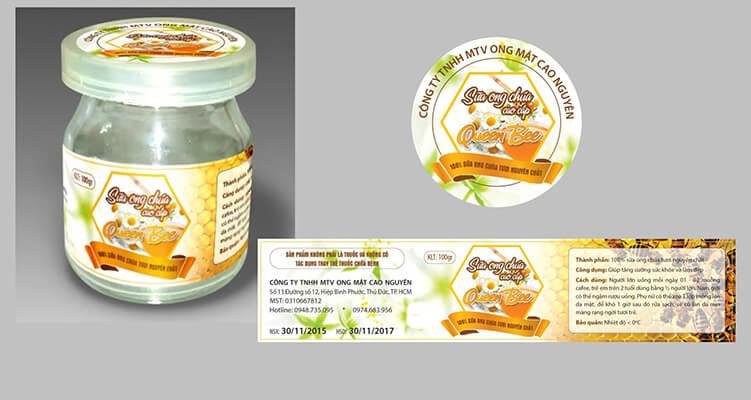 Mẫu tem nhãn sản phẩm Sữa ong chúa Queen Bee