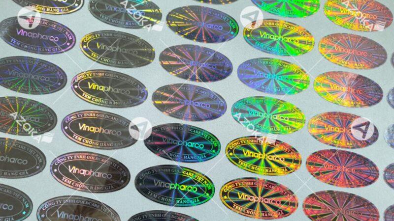 in tem 7 màu hologram