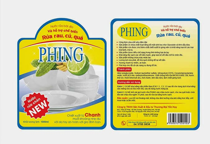 tem nhãn sản phẩm nước rửa chén Phing