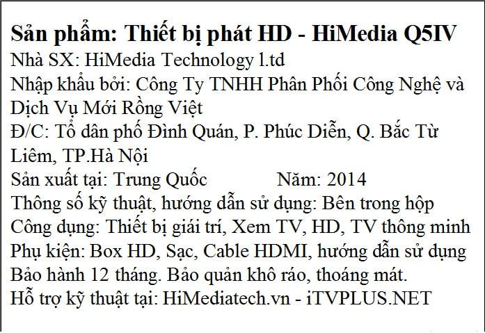 Mẫu tem phụ sản phẩm phát HD- hiMedia Q5IV