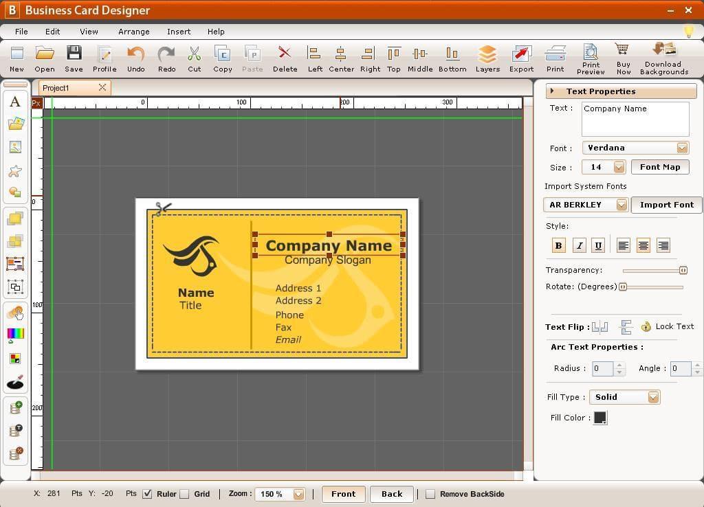 Phần mềm thiết kế card visit Business Card Designer