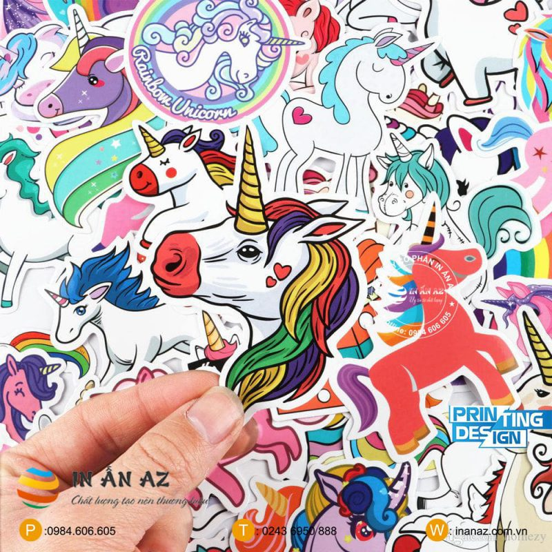 mẫu sticker unicorn