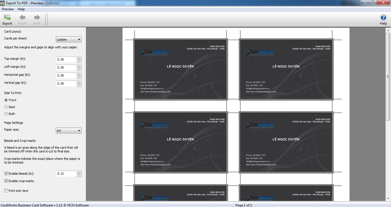 phần mềm thiết kế card visit