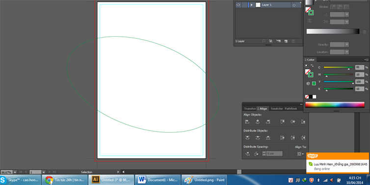 Dùng công cụ Ellipse vẽ hình elip