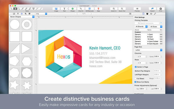 Giao diện website thiết kế card visit - Free Business Card Maker
