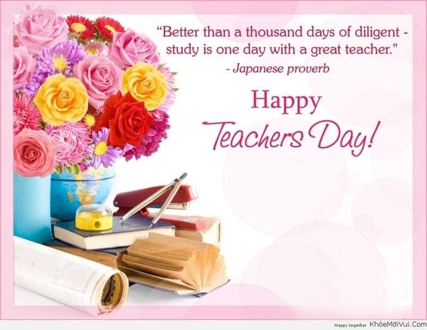 Mẫu thiệp với câu châm ngôn thể hiện sự kính trọng, biết ơn thầy cô