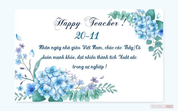 Mẫu thiệp với lời chúc dành tặng thầy cô